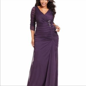 Adrianna Papell purple ruched gown